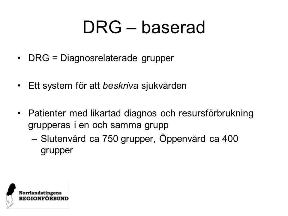 Nationell viktlista Socialstyrelsen tar fram en nationell viktlista baserat på DRG och KPP (kostnad per patient) Viktlistan tas fram med en nationell kostnadsdatabas som underlag –De flesta sjukhusen i landet ingår En kostnadsvikt beräknas för varje enskilt DRG –Beräkningen av DRG - vikten utgår från genomsnittskostnaden för alla vårdtillfällen i databasen och anges som DRG - vikt 1,0 –Vikten för varje diagnosgrupp tas fram genom att man dividerar medelkostnaden med den kostnad som motsvarar DRG - vikt 1,0