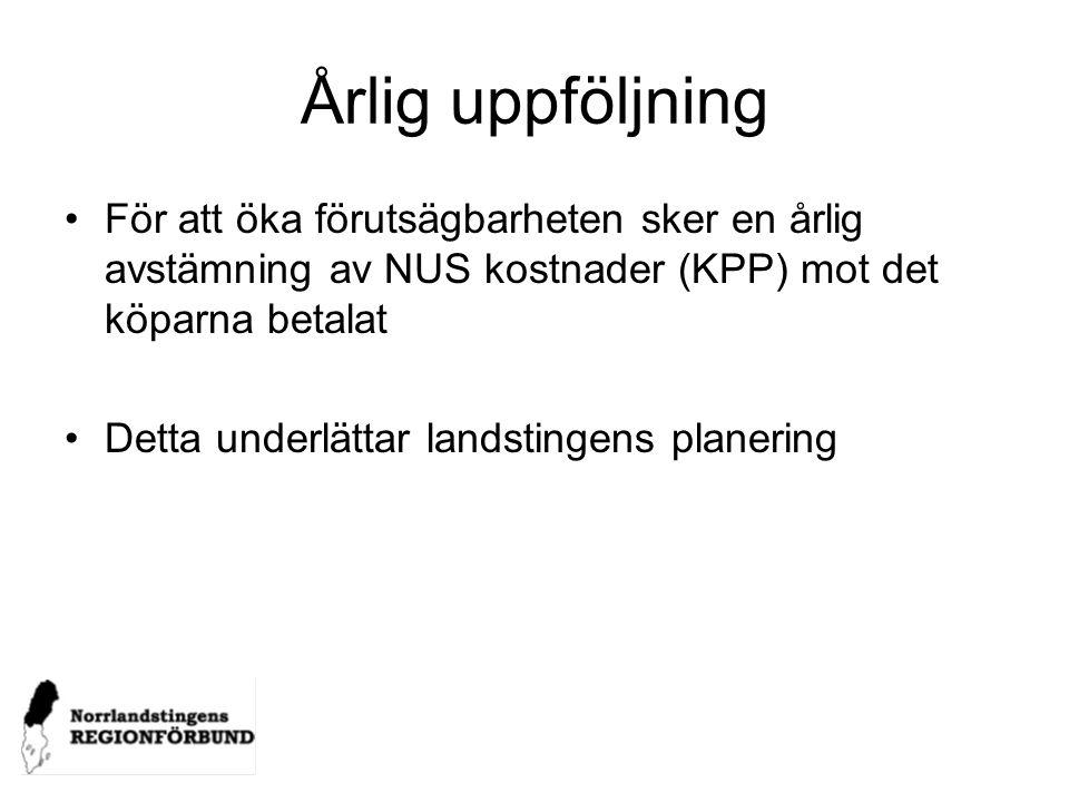 Årlig uppföljning För att öka förutsägbarheten sker en årlig avstämning av NUS kostnader (KPP) mot det köparna betalat Detta underlättar landstingens