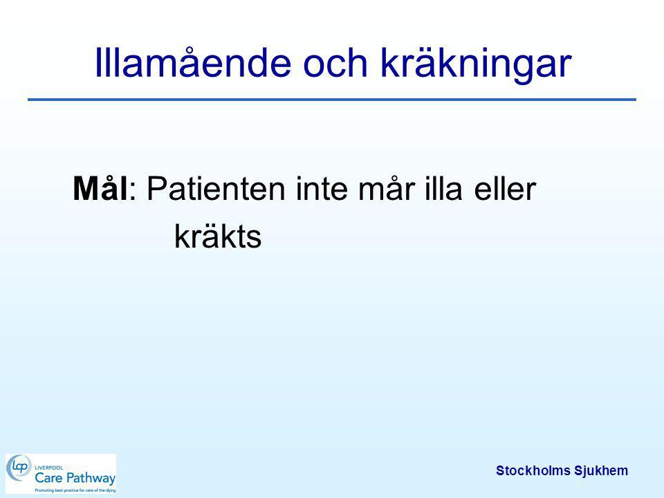 Stockholms Sjukhem Varför illamående och/eller kräkningar.