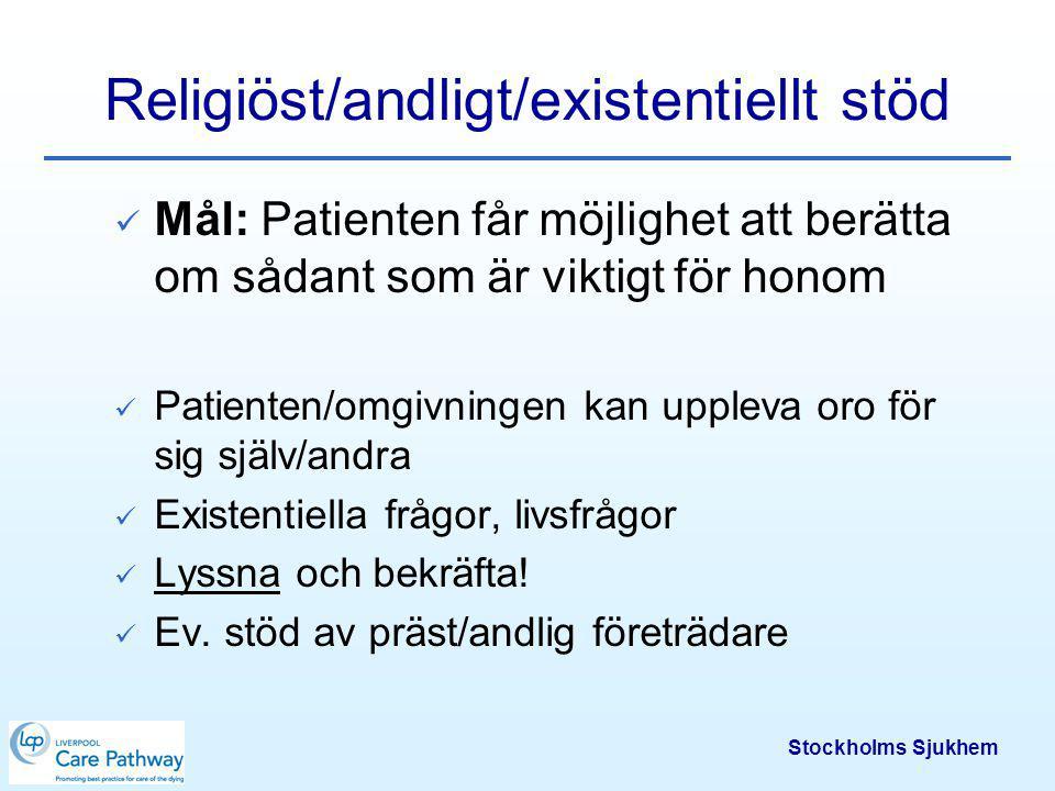 Stockholms Sjukhem Dokumentation av bristande symtomkontroll Datum och klockslag Vad som hände och varför Åtgärd Resultat Dokumentationen ligger till grund för fortsatt symtomkontroll och förbättringsarbete