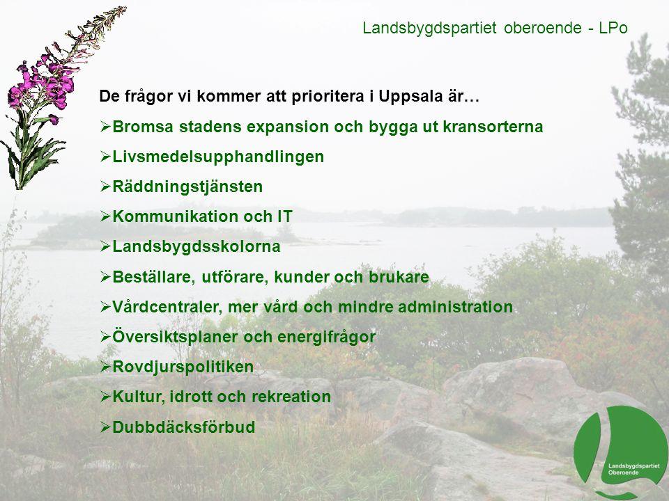 Landsbygdspartiet oberoende - LPo De frågor vi kommer att prioritera i Uppsala är…  Bromsa stadens expansion och bygga ut kransorterna  Livsmedelsup