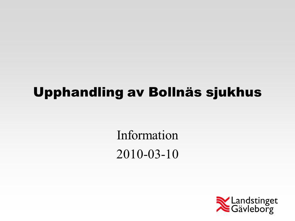 Upphandling av Bollnäs sjukhus Information 2010-03-10