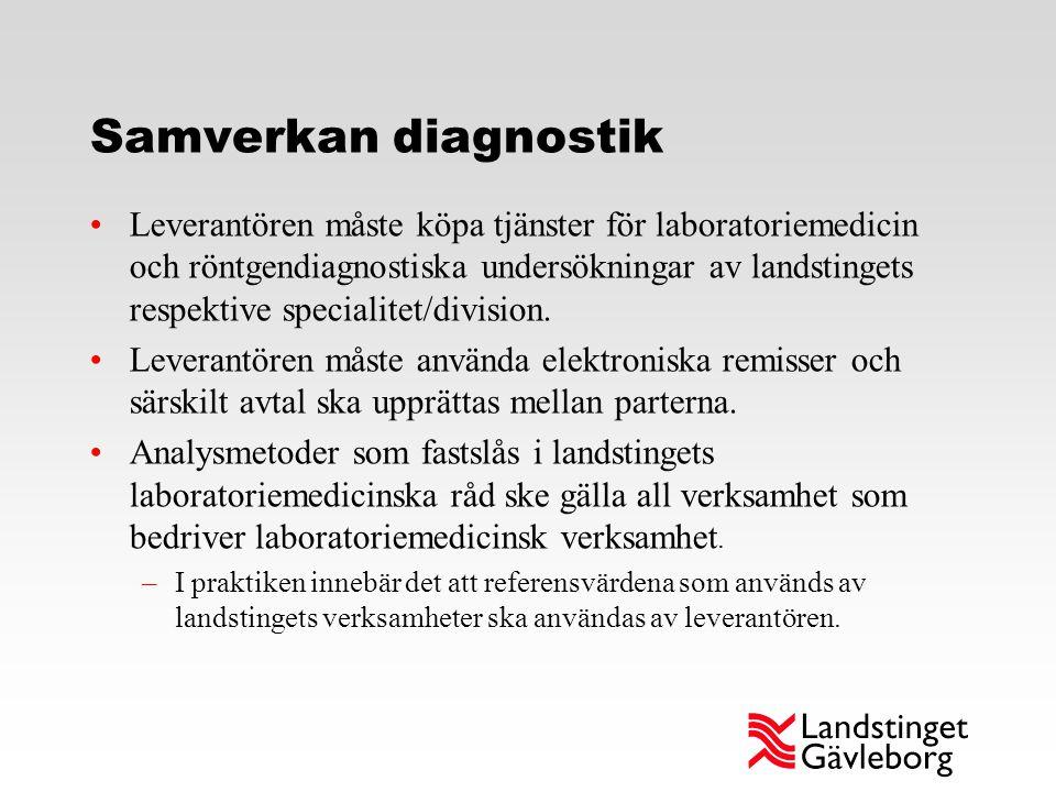 Samverkan diagnostik Leverantören måste köpa tjänster för laboratoriemedicin och röntgendiagnostiska undersökningar av landstingets respektive special