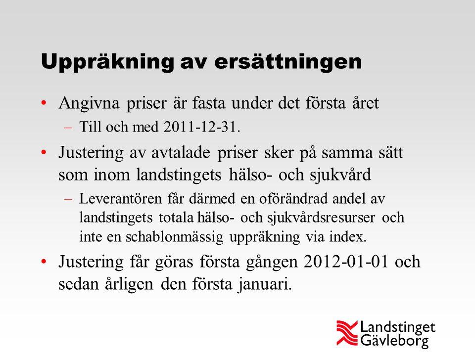 Uppräkning av ersättningen Angivna priser är fasta under det första året –Till och med 2011-12-31. Justering av avtalade priser sker på samma sätt som