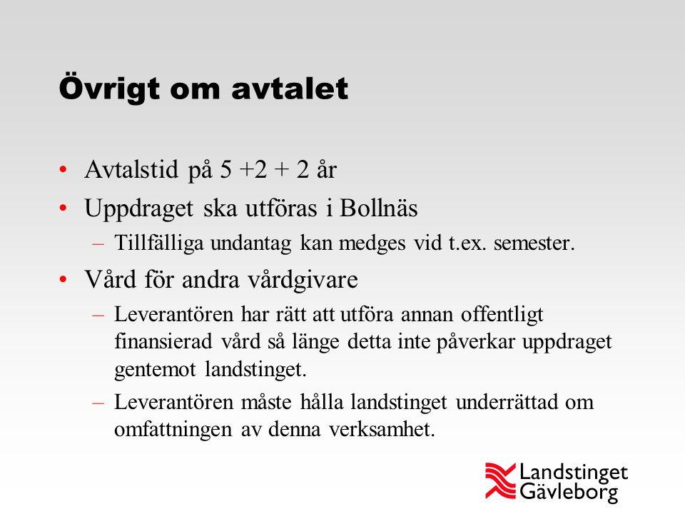 Övrigt om avtalet Avtalstid på 5 +2 + 2 år Uppdraget ska utföras i Bollnäs –Tillfälliga undantag kan medges vid t.ex. semester. Vård för andra vårdgiv