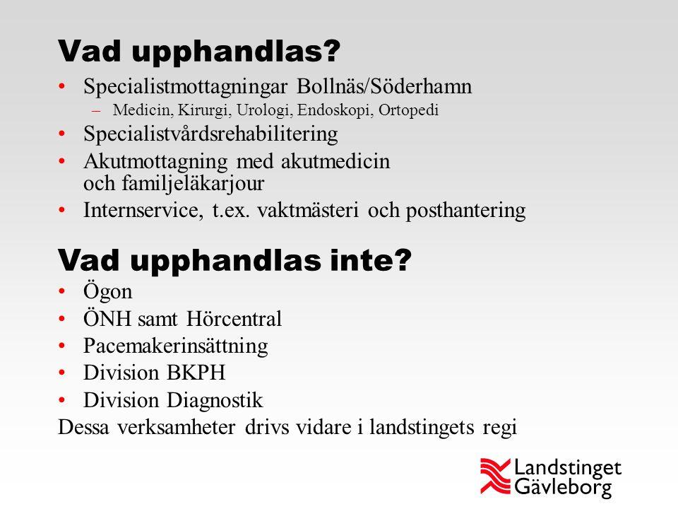 Vad upphandlas? Specialistmottagningar Bollnäs/Söderhamn –Medicin, Kirurgi, Urologi, Endoskopi, Ortopedi Specialistvårdsrehabilitering Akutmottagning