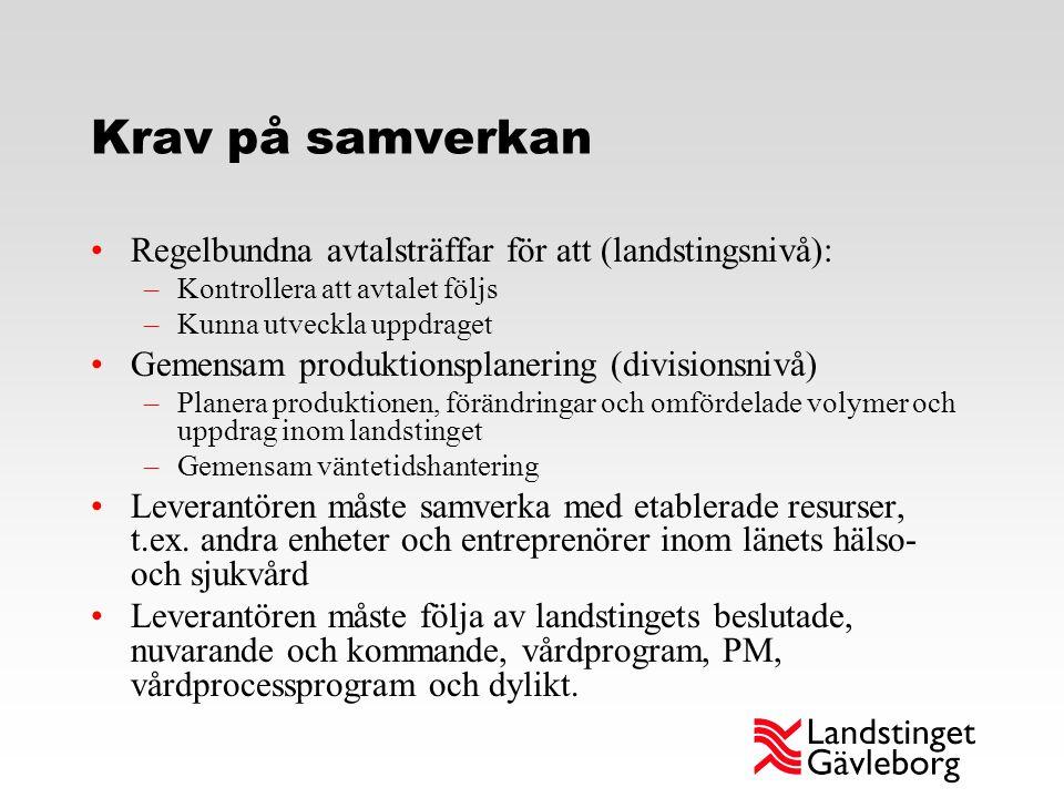 Krav på samverkan Regelbundna avtalsträffar för att (landstingsnivå): –Kontrollera att avtalet följs –Kunna utveckla uppdraget Gemensam produktionspla
