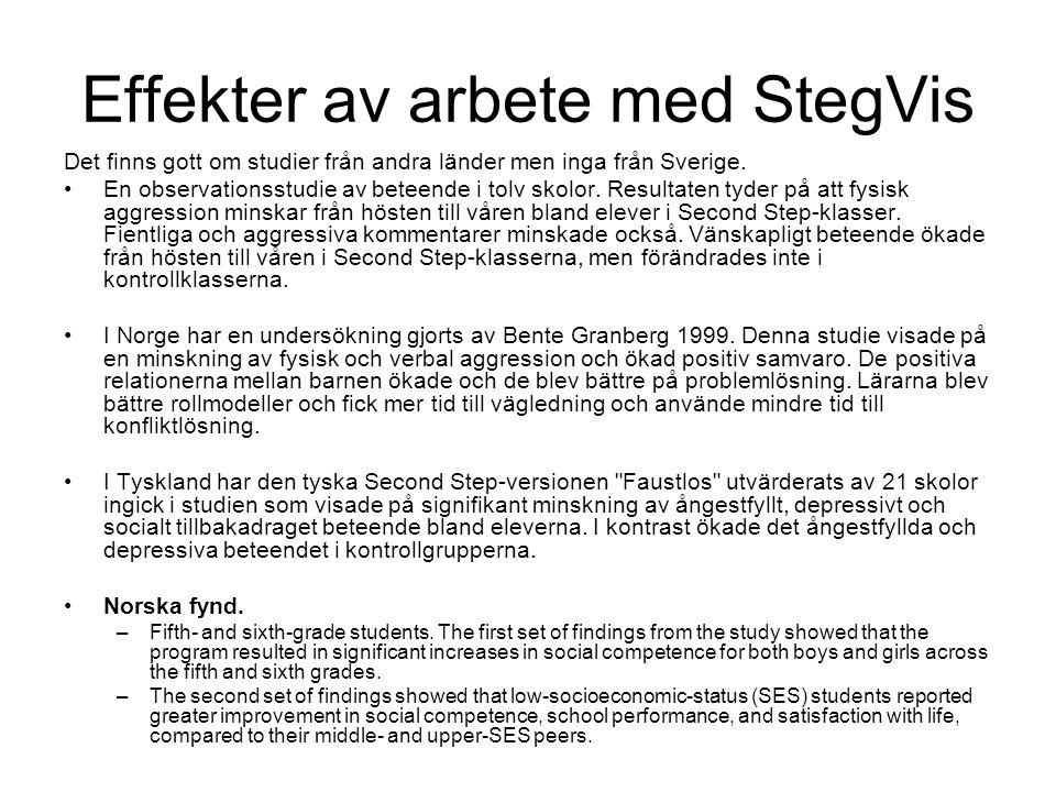 Effekter av arbete med StegVis Det finns gott om studier från andra länder men inga från Sverige. En observationsstudie av beteende i tolv skolor. Res