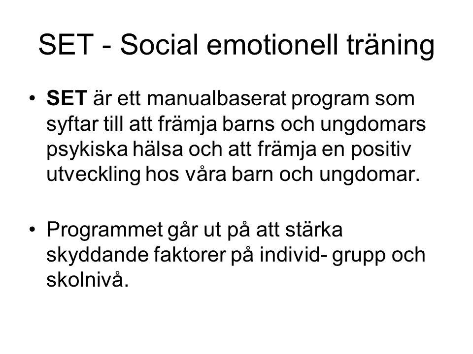 SET - Social emotionell träning SET är ett manualbaserat program som syftar till att främja barns och ungdomars psykiska hälsa och att främja en posit