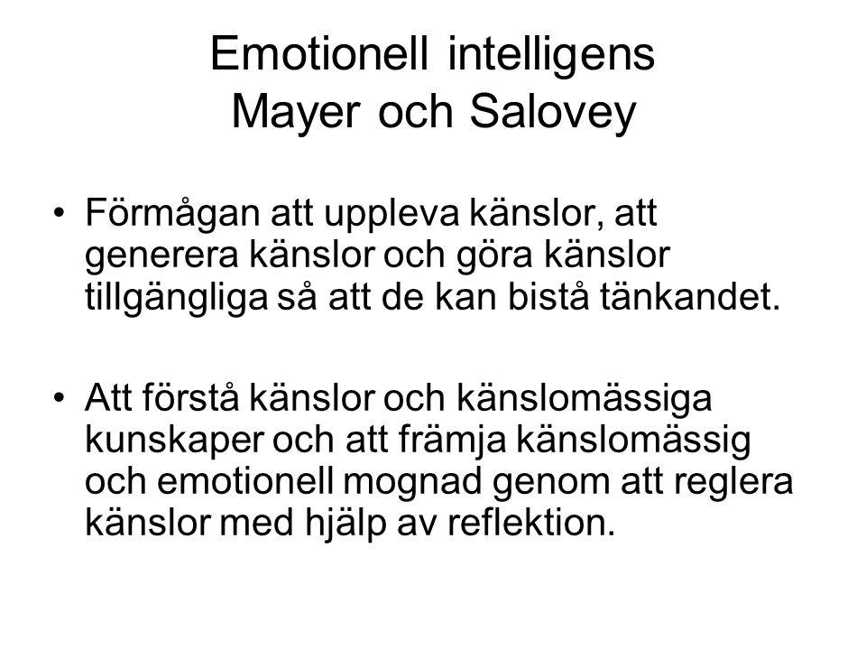 Emotionell intelligens Mayer och Salovey Förmågan att uppleva känslor, att generera känslor och göra känslor tillgängliga så att de kan bistå tänkande