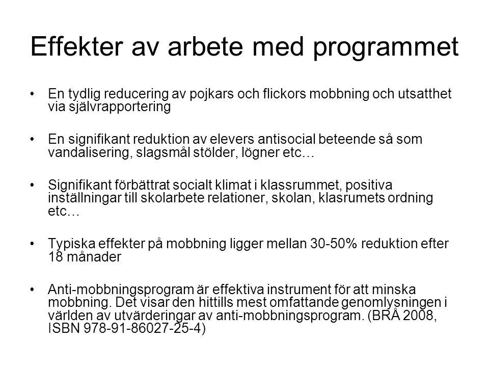 Effekter av arbete med programmet En tydlig reducering av pojkars och flickors mobbning och utsatthet via självrapportering En signifikant reduktion a