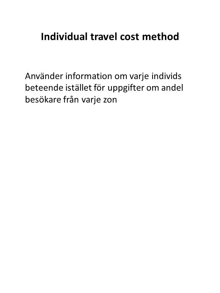 Individual travel cost method Använder information om varje individs beteende istället för uppgifter om andel besökare från varje zon