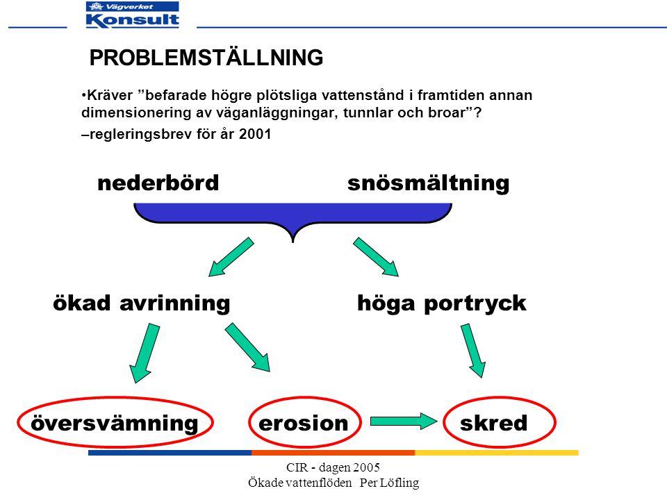 CIR - dagen 2005 Ökade vattenflöden Per Löfling PROBLEMSTÄLLNING Kräver befarade högre plötsliga vattenstånd i framtiden annan dimensionering av väganläggningar, tunnlar och broar .