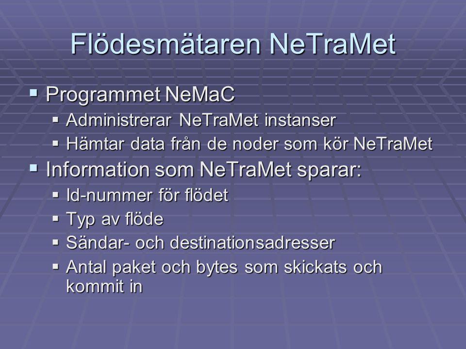 Flödesmätaren NeTraMet  Programmet NeMaC  Administrerar NeTraMet instanser  Hämtar data från de noder som kör NeTraMet  Information som NeTraMet s