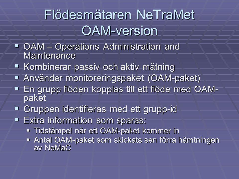 Flödesmätaren NeTraMet OAM-version  OAM – Operations Administration and Maintenance  Kombinerar passiv och aktiv mätning  Använder monitoreringspak