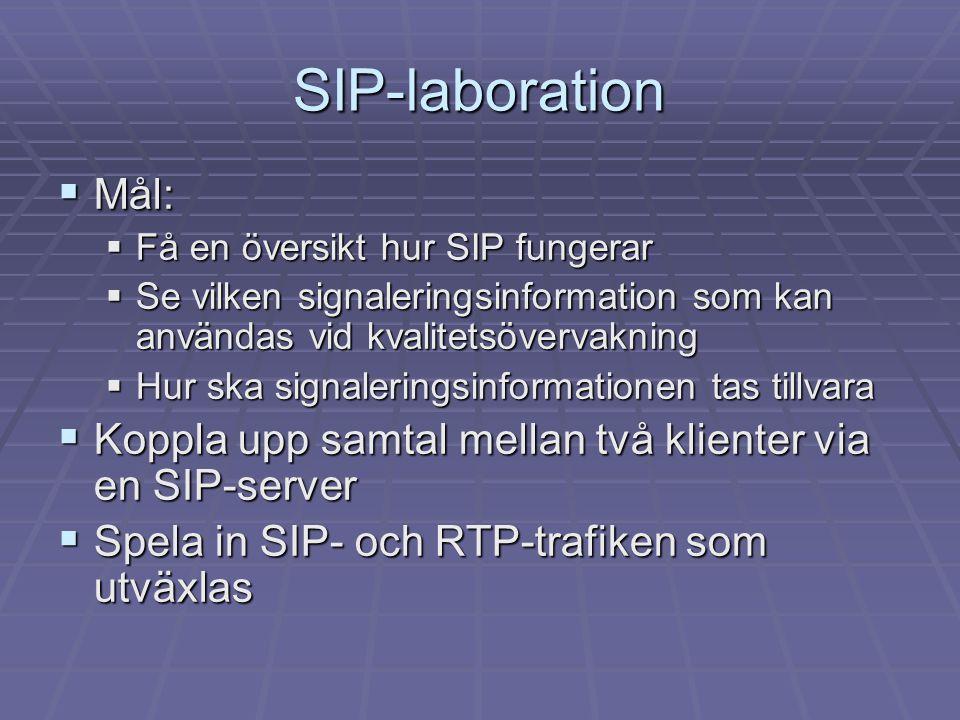 SIP-laboration  Mål:  Få en översikt hur SIP fungerar  Se vilken signaleringsinformation som kan användas vid kvalitetsövervakning  Hur ska signal