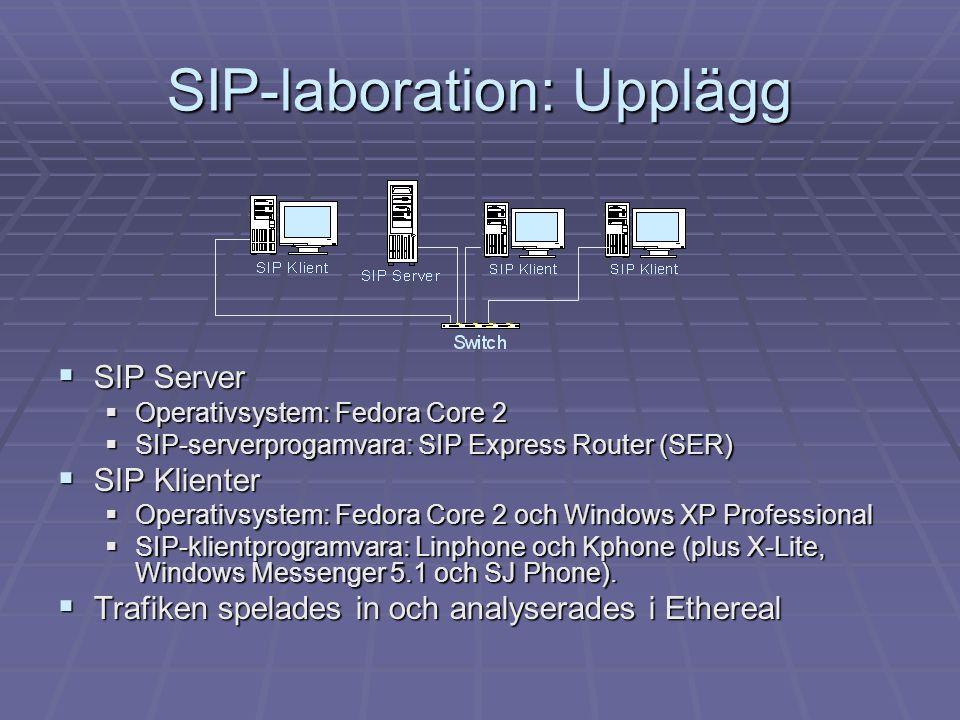 SIP-laboration: Upplägg  SIP Server  Operativsystem: Fedora Core 2  SIP-serverprogamvara: SIP Express Router (SER)  SIP Klienter  Operativsystem: