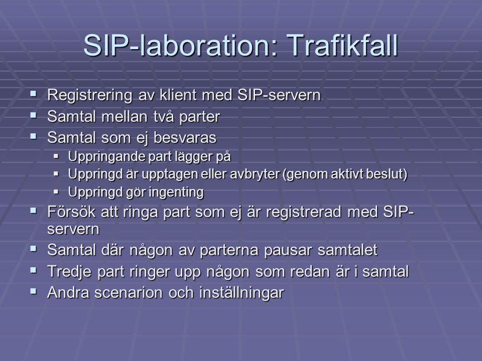 SIP-laboration: Trafikfall  Registrering av klient med SIP-servern  Samtal mellan två parter  Samtal som ej besvaras  Uppringande part lägger på 