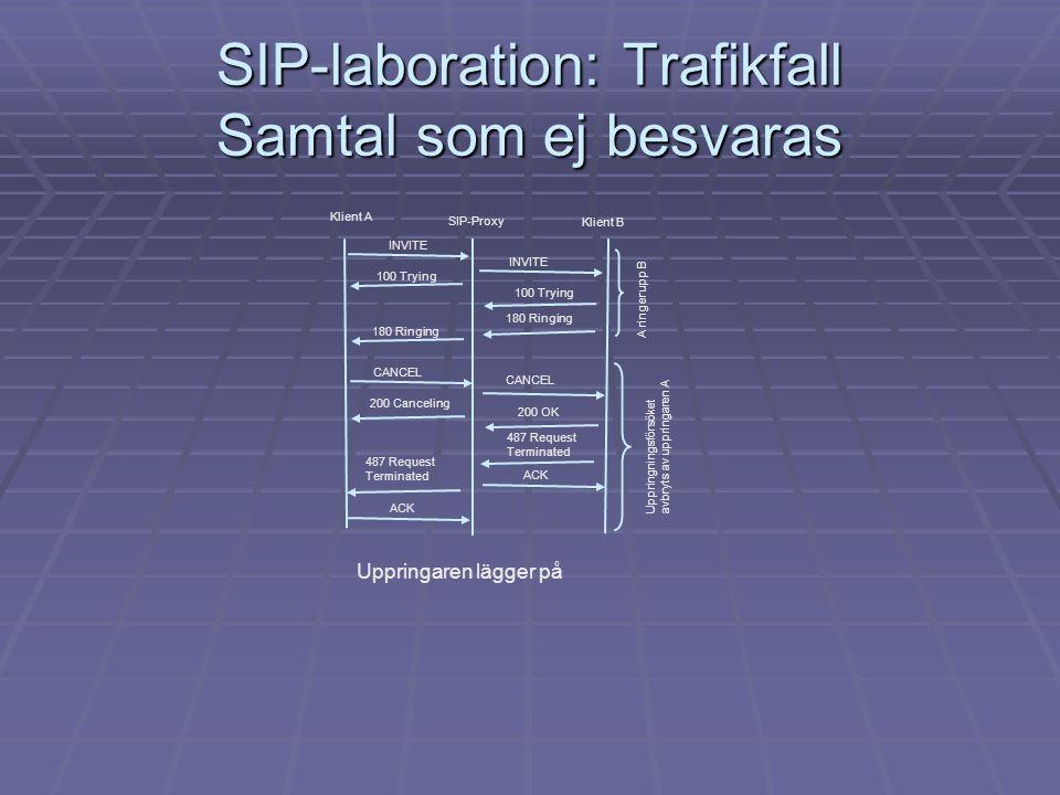 SIP-laboration: Trafikfall Samtal som ej besvaras Klient A Klient B SIP-Proxy INVITE 100 Trying 180 Ringing A ringer upp B CANCEL 200 Canceling 200 OK