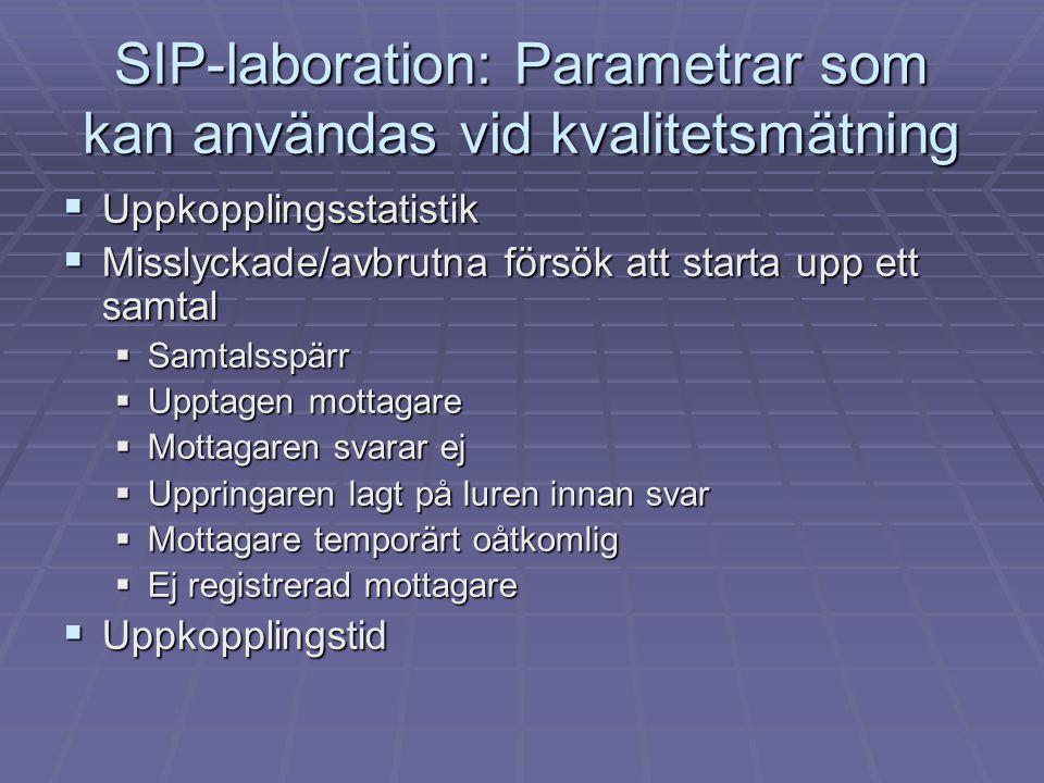 SIP-laboration: Parametrar som kan användas vid kvalitetsmätning  Uppkopplingsstatistik  Misslyckade/avbrutna försök att starta upp ett samtal  Sam