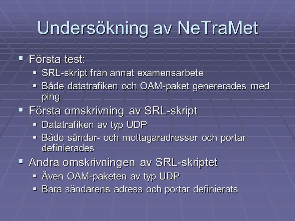 Undersökning av NeTraMet  Första test:  SRL-skript från annat examensarbete  Både datatrafiken och OAM-paket genererades med ping  Första omskrivn