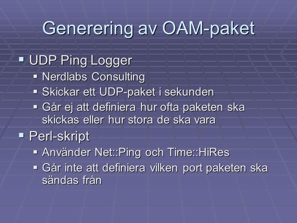 Generering av OAM-paket  UDP Ping Logger  Nerdlabs Consulting  Skickar ett UDP-paket i sekunden  Går ej att definiera hur ofta paketen ska skickas