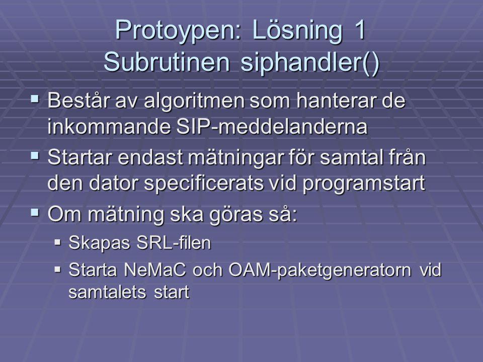Protoypen: Lösning 1 Subrutinen siphandler()  Består av algoritmen som hanterar de inkommande SIP-meddelanderna  Startar endast mätningar för samtal