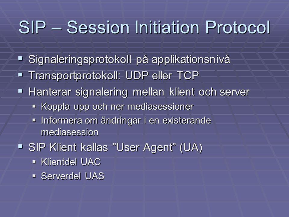 SIP – Session Initiation Protocol  Meddelandetyper i SIP:  Metoder (INVITE, BYE m.fl.)  Svarskoder (180 Ringing, 200 OK m.fl.)  Ett SIP-meddelande består av:  SIP-huvud  Eventuell datadel skriven i SDP (Session Description Protocol)