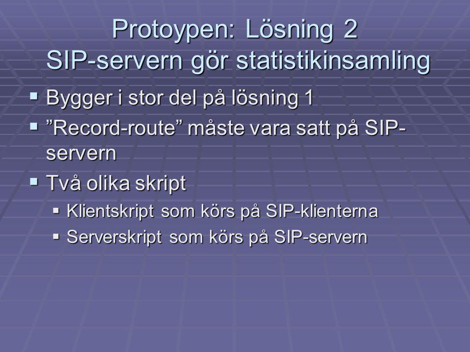 """ Bygger i stor del på lösning 1  """"Record-route"""" måste vara satt på SIP- servern  Två olika skript  Klientskript som körs på SIP-klienterna  Serve"""