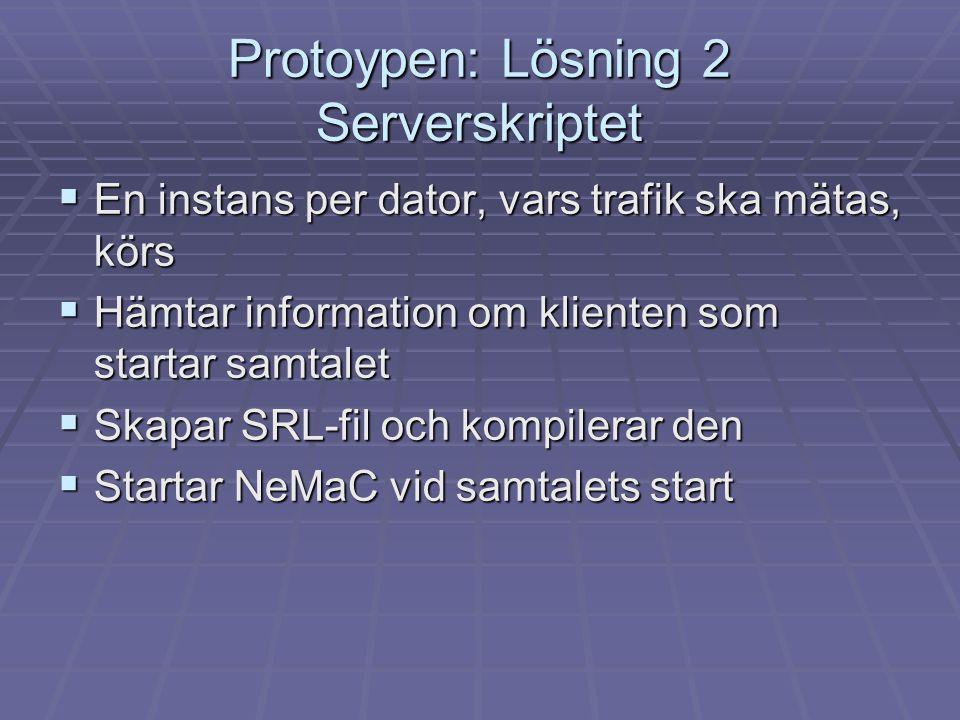 Protoypen: Lösning 2 Serverskriptet  En instans per dator, vars trafik ska mätas, körs  Hämtar information om klienten som startar samtalet  Skapar