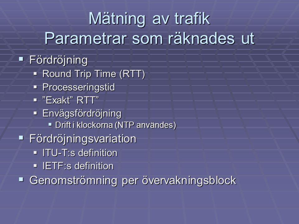"""Mätning av trafik Parametrar som räknades ut  Fördröjning  Round Trip Time (RTT)  Processeringstid  """"Exakt"""" RTT""""  Envägsfördröjning  Drift i klo"""