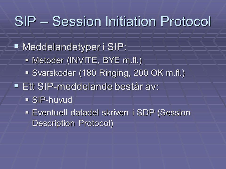 SIP-laboration  Mål:  Få en översikt hur SIP fungerar  Se vilken signaleringsinformation som kan användas vid kvalitetsövervakning  Hur ska signaleringsinformationen tas tillvara  Koppla upp samtal mellan två klienter via en SIP-server  Spela in SIP- och RTP-trafiken som utväxlas