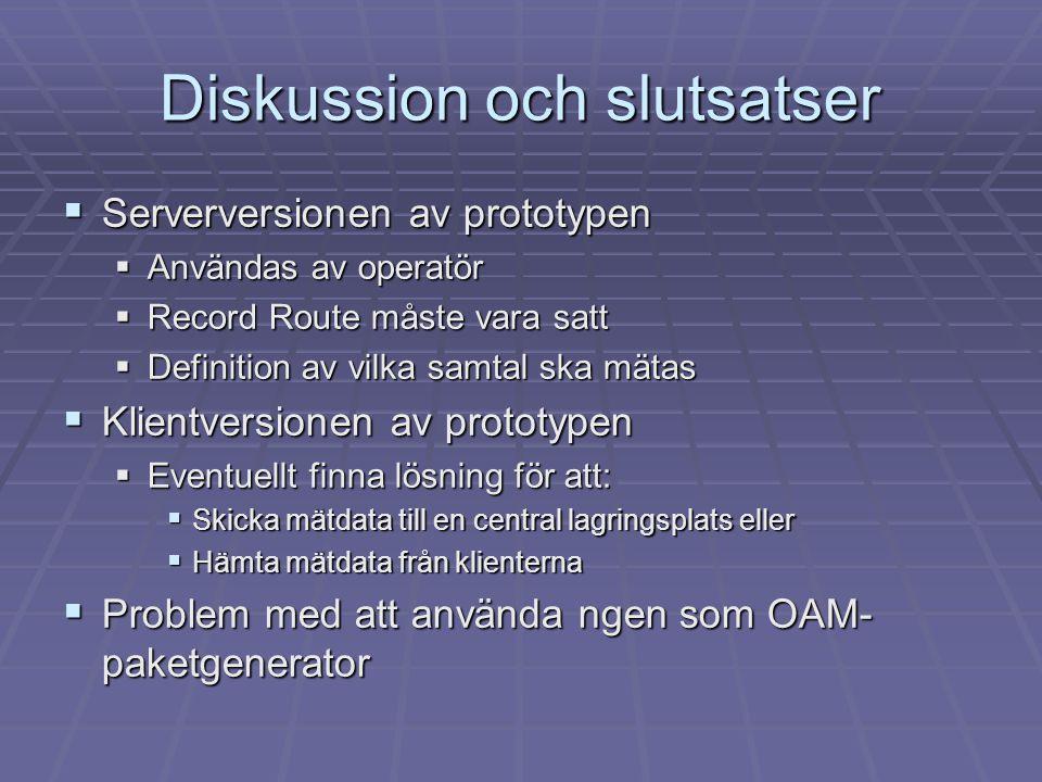 Diskussion och slutsatser  Serverversionen av prototypen  Användas av operatör  Record Route måste vara satt  Definition av vilka samtal ska mätas
