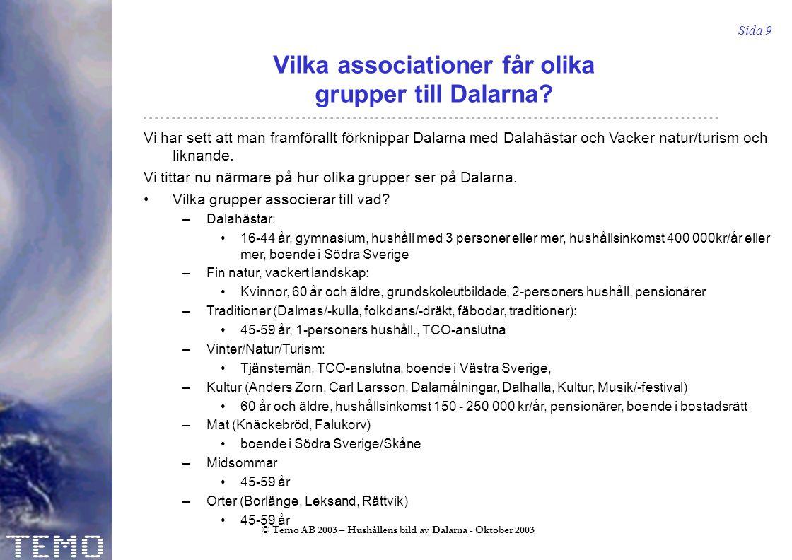 Sida 9 © Temo AB 2003 – Hushållens bild av Dalarna - Oktober 2003 Vilka associationer får olika grupper till Dalarna.