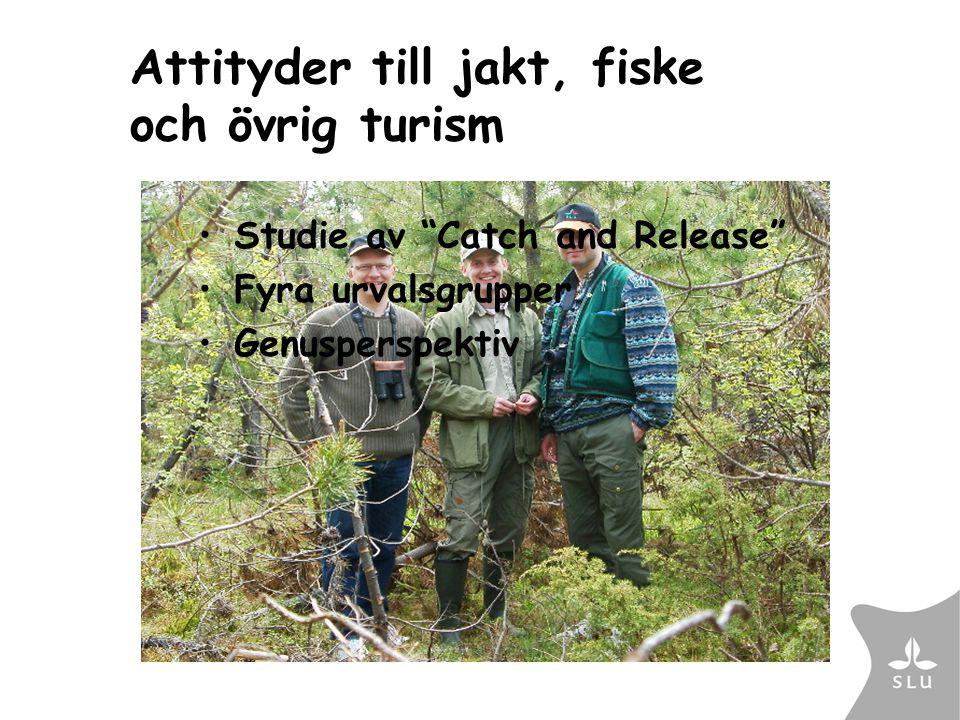Attityder till jakt, fiske och övrig turism Studie av Catch and Release Fyra urvalsgrupper Genusperspektiv