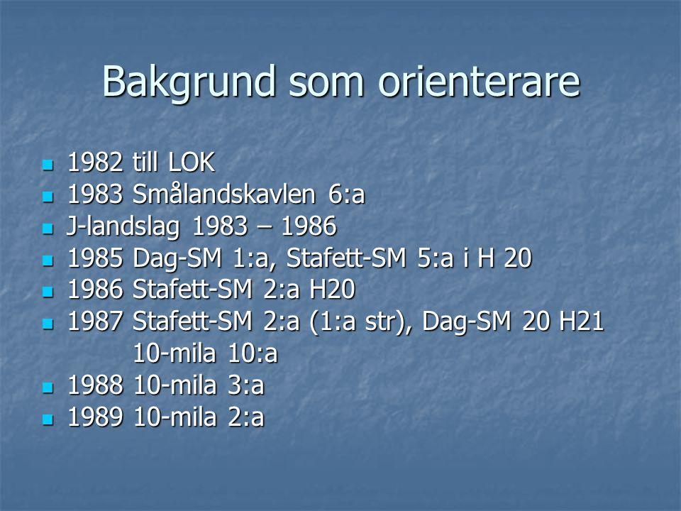 Bakgrund som orienterare 1982 till LOK 1982 till LOK 1983 Smålandskavlen 6:a 1983 Smålandskavlen 6:a J-landslag 1983 – 1986 J-landslag 1983 – 1986 1985 Dag-SM 1:a, Stafett-SM 5:a i H 20 1985 Dag-SM 1:a, Stafett-SM 5:a i H 20 1986 Stafett-SM 2:a H20 1986 Stafett-SM 2:a H20 1987 Stafett-SM 2:a (1:a str), Dag-SM 20 H21 1987 Stafett-SM 2:a (1:a str), Dag-SM 20 H21 10-mila 10:a 10-mila 10:a 1988 10-mila 3:a 1988 10-mila 3:a 1989 10-mila 2:a 1989 10-mila 2:a