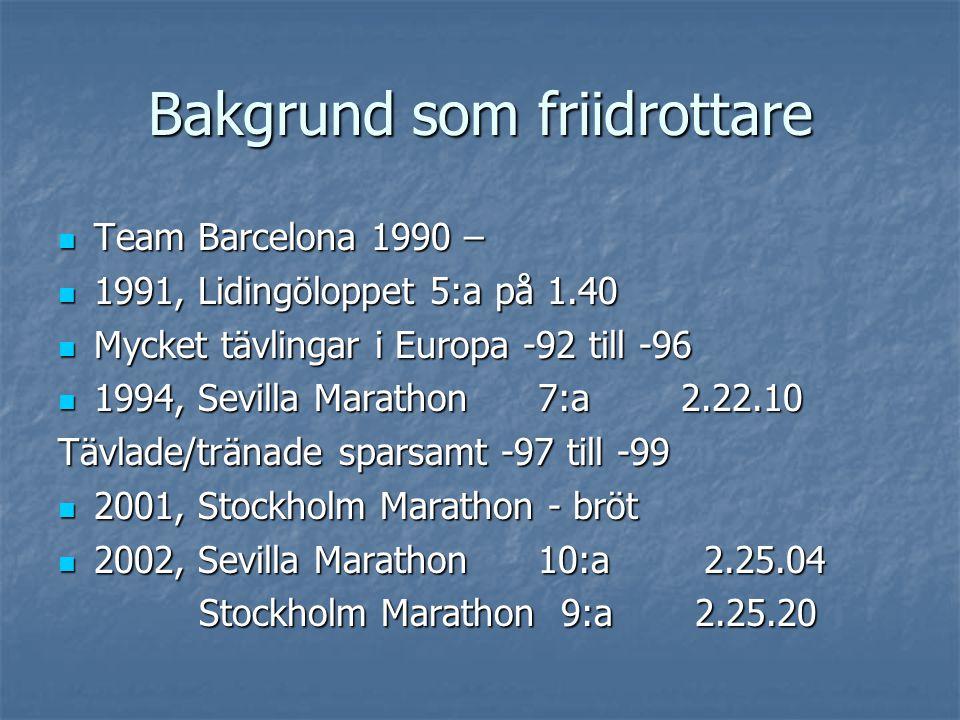 Bakgrund som friidrottare Team Barcelona 1990 – Team Barcelona 1990 – 1991, Lidingöloppet 5:a på 1.40 1991, Lidingöloppet 5:a på 1.40 Mycket tävlingar i Europa -92 till -96 Mycket tävlingar i Europa -92 till -96 1994, Sevilla Marathon7:a 2.22.10 1994, Sevilla Marathon7:a 2.22.10 Tävlade/tränade sparsamt -97 till -99 2001, Stockholm Marathon - bröt 2001, Stockholm Marathon - bröt 2002, Sevilla Marathon10:a 2.25.04 2002, Sevilla Marathon10:a 2.25.04 Stockholm Marathon 9:a 2.25.20 Stockholm Marathon 9:a 2.25.20