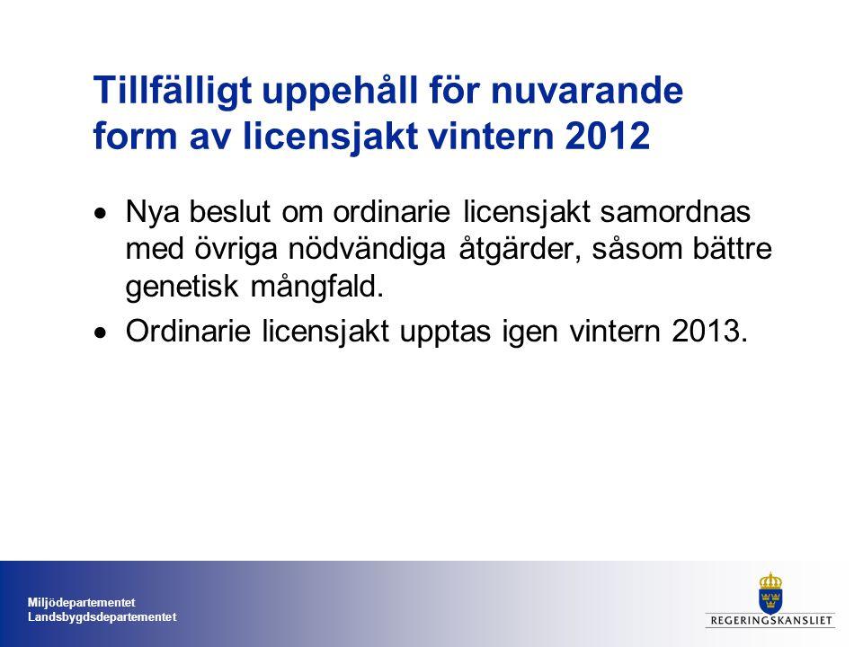 Miljödepartementet Landsbygdsdepartementet Tillfälligt uppehåll för nuvarande form av licensjakt vintern 2012  Nya beslut om ordinarie licensjakt samordnas med övriga nödvändiga åtgärder, såsom bättre genetisk mångfald.