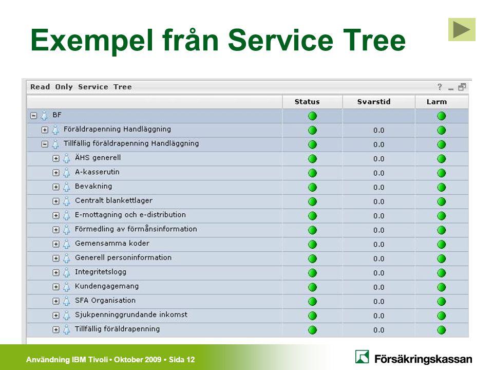 Användning IBM Tivoli Oktober 2009 Sida 12 Exempel från Service Tree