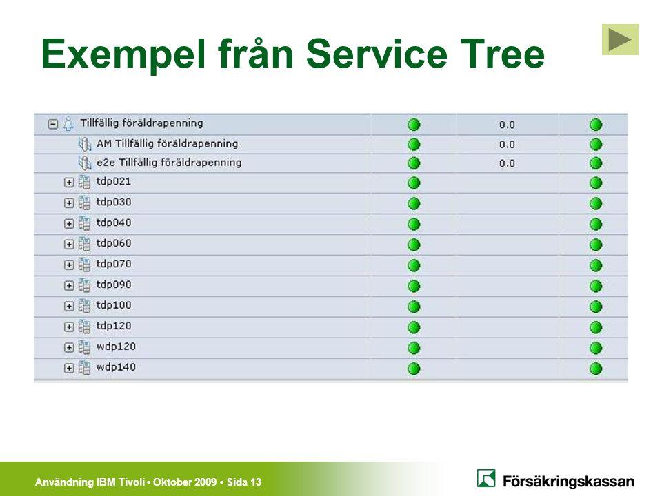 Användning IBM Tivoli Oktober 2009 Sida 13 Exempel från Service Tree