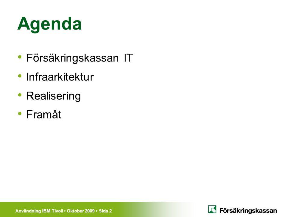 Användning IBM Tivoli Oktober 2009 Sida 3 Cirka 800 medarbetare på sju orter samt Närservice i tre regioner Kalix/Luleå Sundsvall Söderhamn Stockholm Göteborg Karlskrona Försäkringskassan IT Kalix/Luleå Sundsvall Söderhamn Stockholm Karlskrona Göteborg