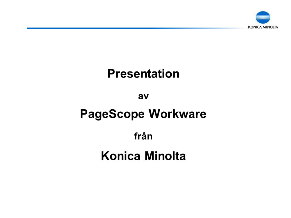 Presentation av PageScope Workware från Konica Minolta