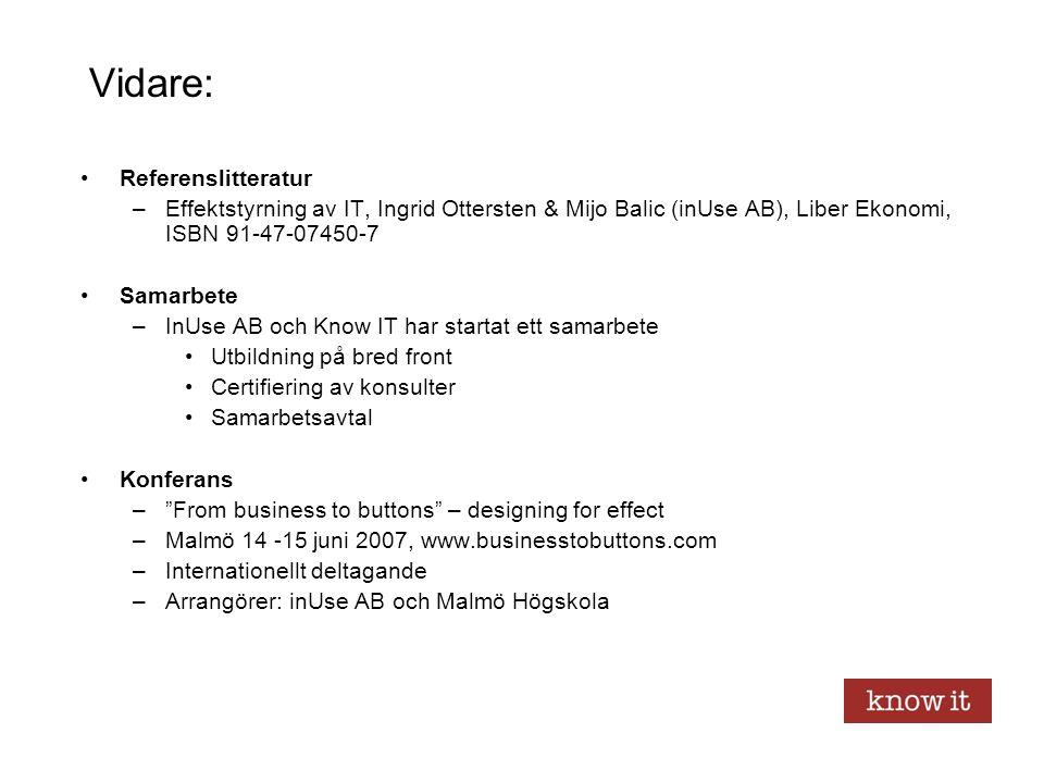 Vidare: Referenslitteratur –Effektstyrning av IT, Ingrid Ottersten & Mijo Balic (inUse AB), Liber Ekonomi, ISBN 91-47-07450-7 Samarbete –InUse AB och