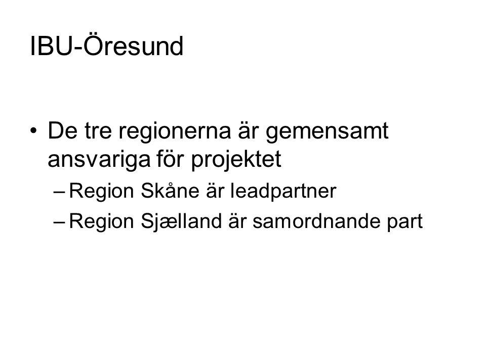 IBU-Öresund De tre regionerna är gemensamt ansvariga för projektet –Region Skåne är leadpartner –Region Sjælland är samordnande part