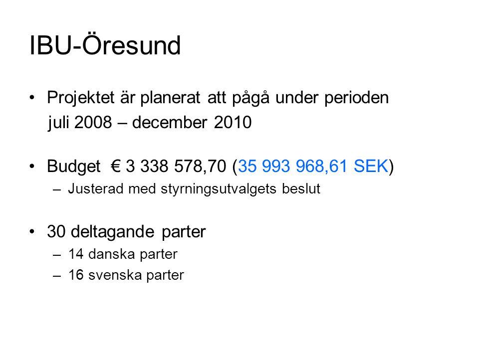 IBU-Öresund Projektet är planerat att pågå under perioden juli 2008 – december 2010 Budget € 3 338 578,70 (35 993 968,61 SEK) –Justerad med styrningsu