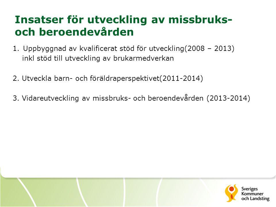 2 Insatser för utveckling av missbruks- och beroendevården 1.Uppbyggnad av kvalificerat stöd för utveckling(2008 – 2013) inkl stöd till utveckling av brukarmedverkan 2.