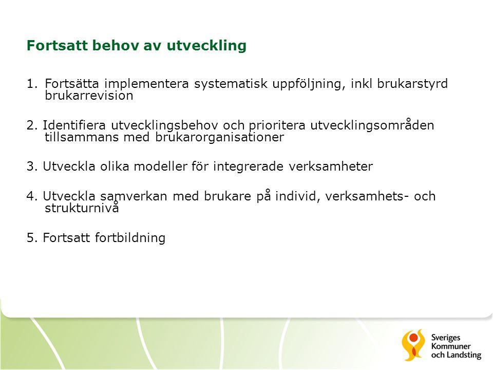 3 Fortsatt behov av utveckling 1.Fortsätta implementera systematisk uppföljning, inkl brukarstyrd brukarrevision 2. Identifiera utvecklingsbehov och p
