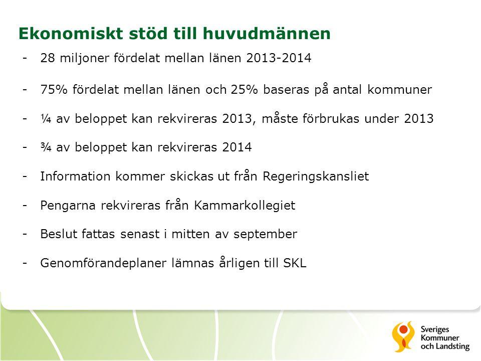 4 Ekonomiskt stöd till huvudmännen -28 miljoner fördelat mellan länen 2013-2014 -75% fördelat mellan länen och 25% baseras på antal kommuner -¼ av bel