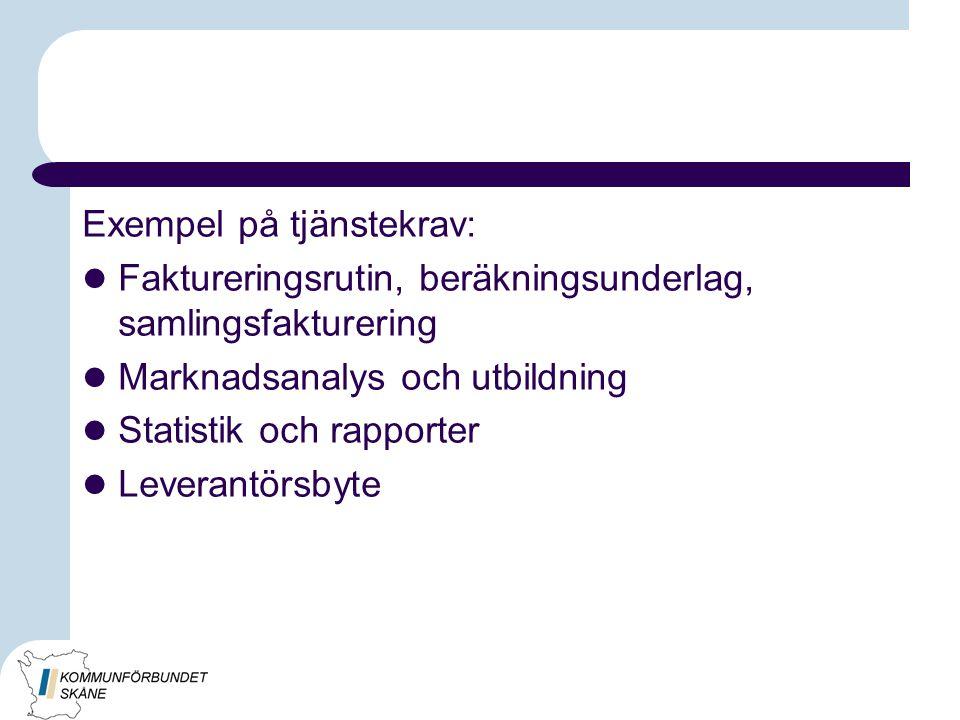 Exempel på tjänstekrav: Faktureringsrutin, beräkningsunderlag, samlingsfakturering Marknadsanalys och utbildning Statistik och rapporter Leverantörsby