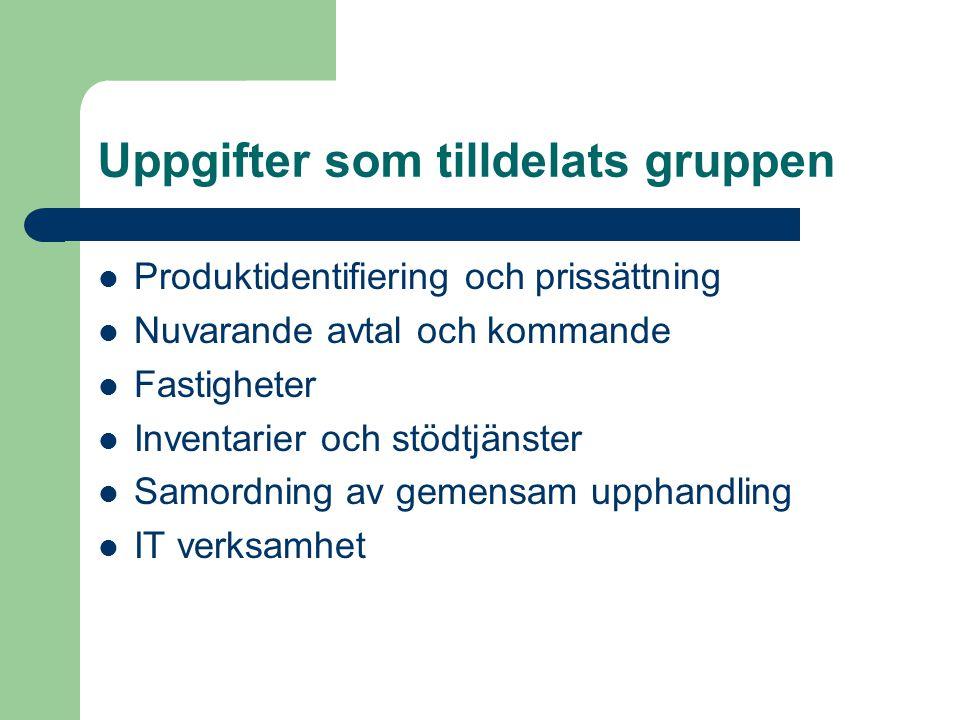 Uppgifter som tilldelats gruppen Produktidentifiering och prissättning Nuvarande avtal och kommande Fastigheter Inventarier och stödtjänster Samordning av gemensam upphandling IT verksamhet